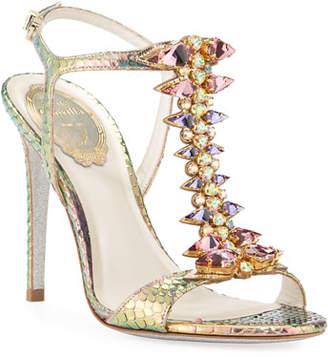 Rene Caovilla Jeweled Python T-Strap Sandals