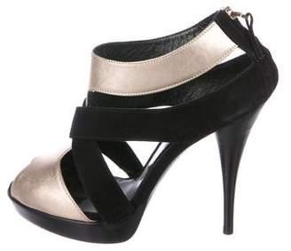 Fendi Suede Crossover Sandals
