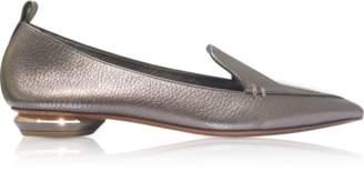 Nicholas Kirkwood Beya Metallic Pewter Tumbled Leather Loafers