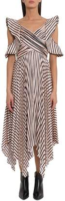 Self-Portrait Self Portrait Striped Midi Dress With Pleated Skirt