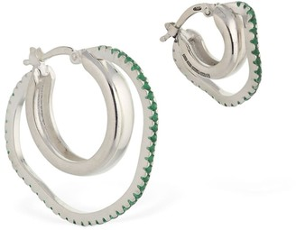 Cornelia Webb Asymmetric Green Gemstone Hoop Earrings