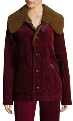 Marc Jacobs Corduroy Faux-Shearling Collar Jacket