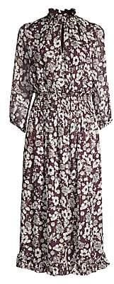 Shoshanna Women's Jasper Floral Silk Metallic A-Line Midi Dress