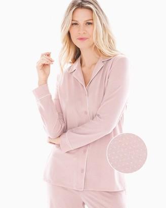 Embraceable Long Sleeve Notch Collar Pajama Top Micro Dot Vintage Pink