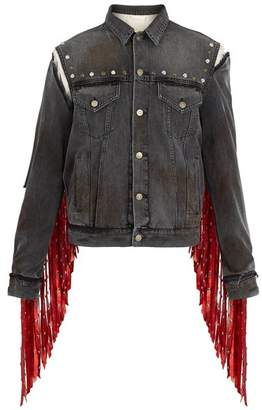 Gucci Fringed Floral Embroidered Denim Jacket - Mens - Black