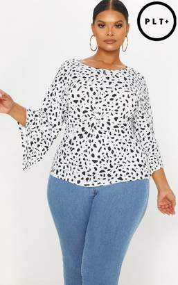 PrettyLittleThing Plus White Dalmatian Print Twist Front Top