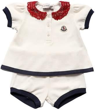 Moncler Logo Cotton Piqué T-Shirt & Shorts