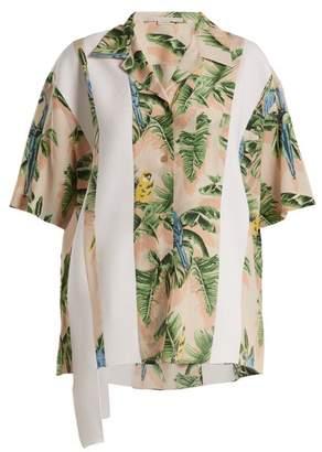 Stella McCartney Parrot Print Silk Crepe De Chine Shirt - Womens - Pink Print