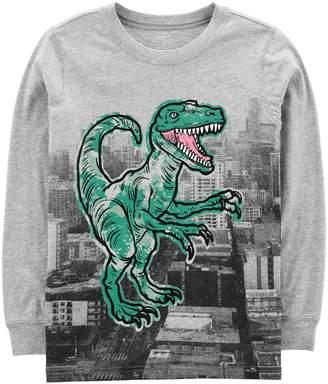 Carter's Boys 4-12 Dinosaur T-Rex Long Sleeve Graphic Tee