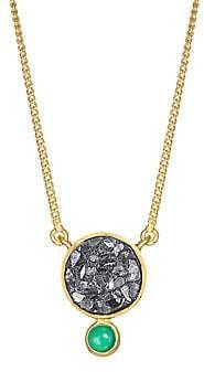 Ophelia Shana Gulati Women's Tulum 18K Gold Vermail, Green Onyx & Sliced Raw Diamonds Pendant Necklace
