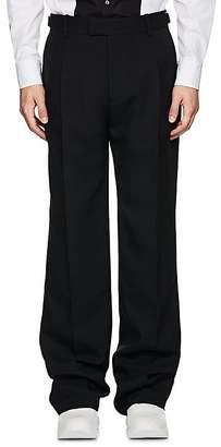 Alexander McQueen Men's Wool-Silk Gazar Wide-Leg Trouseres