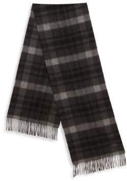 Hickey Freeman Men's Plaid Cashmere Scarf - Charcoal Black