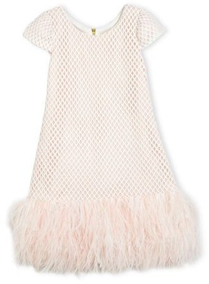 Zoe Cap-Sleeve Netted Shift Dress, Pink, Size 7-16 $285 thestylecure.com