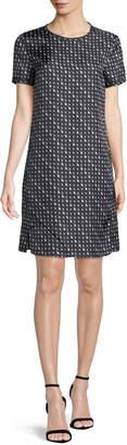 Theory Triangle Stripe Silk Twill Tee Dress