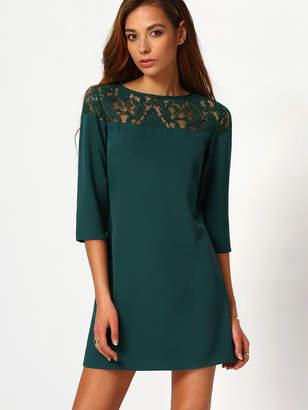 Shein Lace Yoke Buttoned Keyhole Back Dress