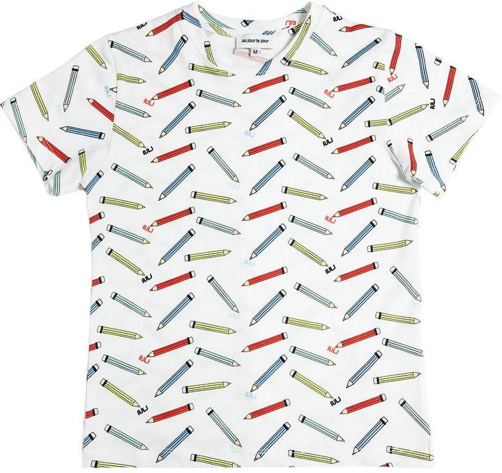 Au Jour Le Jour Pencils Printed Cotton Jersey T-Shirt