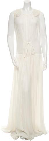 Saint LaurentYves Saint Laurent Embellished Silk Evening Dress
