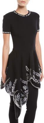 Oscar de la Renta Jewel-Neck Short-Sleeve Embellished Peplum Top