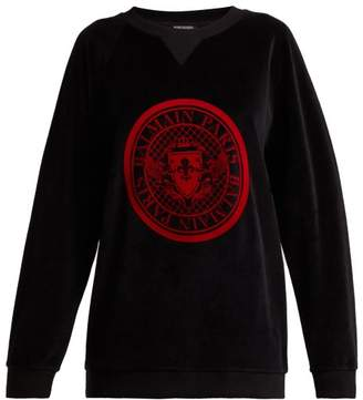 Balmain Logo Jacquard Velvet Sweatshirt - Womens - Black Red