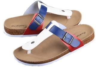 OUTAD Women Buckle T Strap Sandal Footbed Sandals Flat Platform Flip Flops Shoes Spring Summer Autumn Casual Slippers
