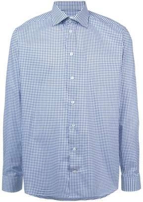 Eton longsleeved grid print shirt