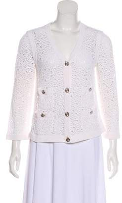 Chanel Open Knit V-Neck Cardigan