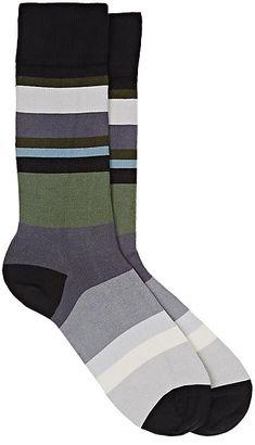 Paul Smith Men's Striped Cotton-Blend Mid-Calf Socks $30 thestylecure.com