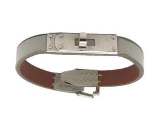 Hermes Kelly White Leather Bracelets