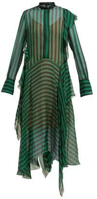 Petar Petrov Dike Striped Silk Chiffon Dress - Womens - Black Green