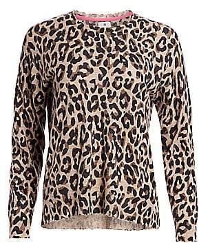 Sundry Women's Leopard Print Crew Sweater
