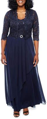 R & M Richards Sleeveless Embellished Ball Gown-Petites