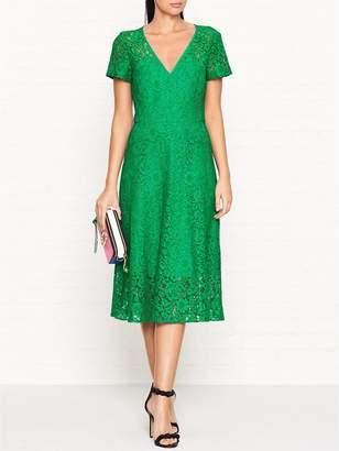 Paul Smith Short Sleeve V Neck Lace Dress-Green