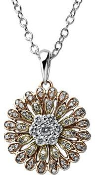 Lord & Taylor Diamond Flower Pendant in 14 Kt. Tri Tone Gold, 0.5 ct. t.w.