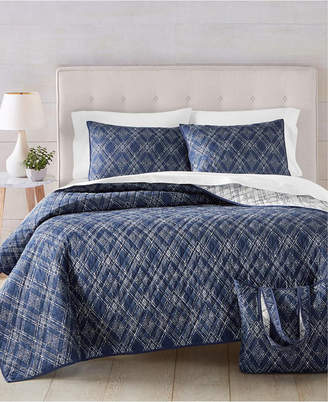 Martha Stewart Collection Diamond Geo 4-Pc. King Quilt and Tote Set, Created for Macy's