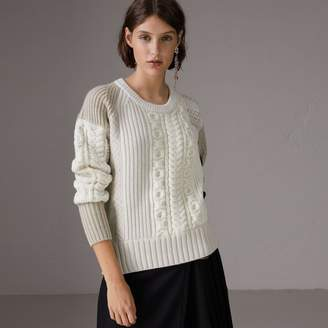 Burberry Colour Block Fair Isle and Cable Knit Wool Cashmere Sweater
