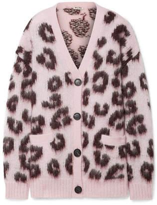 Miu Miu - Oversized Leopard-print Mohair-blend Cardigan - Blush