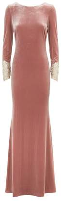 Badgley Mischka Velvet Embellished Cuff Gown