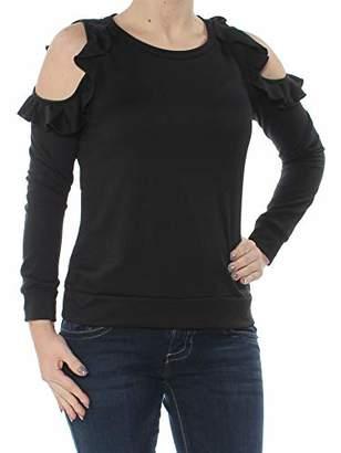 Self Esteem Women's Ruffle Cold Shoulder Long Sleeve Sweatshirt