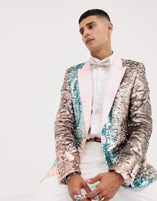 Asos Edition EDITION skinny blazer in pink and blue sequins