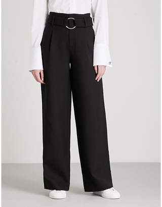 Mo&Co. Belted high-rise wide-leg woven trousers