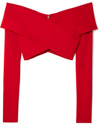 Cushnie et Ochs Off-the-shoulder Cropped Stretch-crepe Top - Red
