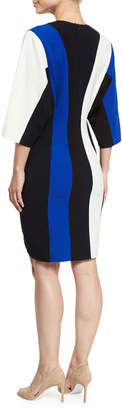 Derek Lam Batwing-Sleeve Colorblock V-Neck Dress, Blue/Multi