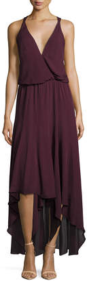 Haute Hippie Silk Chiffon Strappy High-Low Dress, Plum