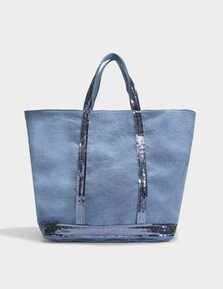 Vanessa Bruno Linen and Sequins Medium + Tote Bag in China Blue Linen