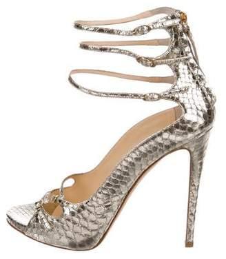 Giuseppe Zanotti Metallic Snakeskin Sandals
