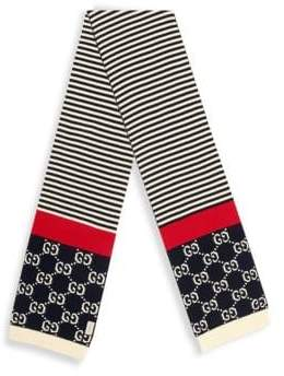 Gucci Men's GG Cotton Scarf - Navy Red