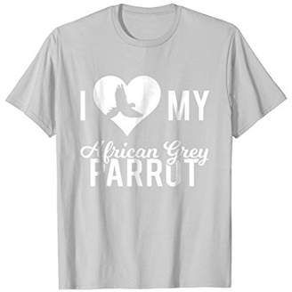 I Love My African Grey Parrot T Shirt Birds Feather Pets I