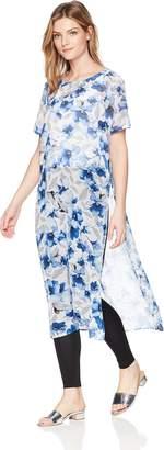 Calvin Klein Women's Short Sleeve Long Printed Tunic
