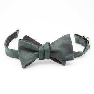Blade + Blue Bottle Green Leather Bow Tie