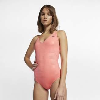 Nike Women's One-Piece Swimsuit Shine Stripe Crossback